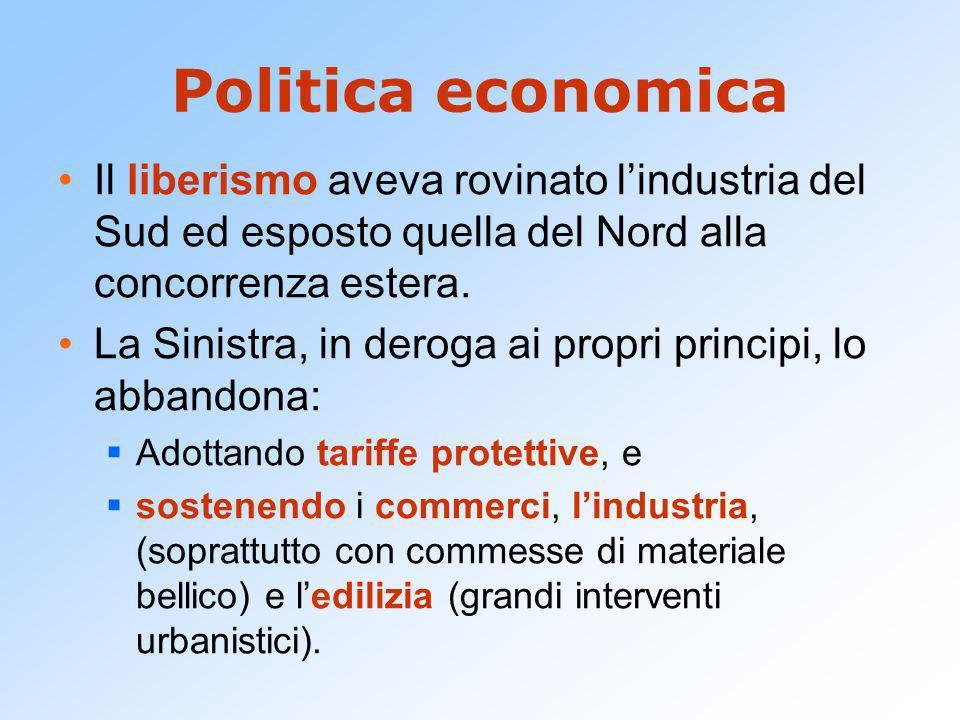 Politica economica Il liberismo aveva rovinato lindustria del Sud ed esposto quella del Nord alla concorrenza estera. La Sinistra, in deroga ai propri