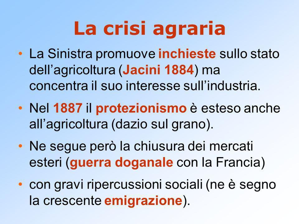 La crisi agraria La Sinistra promuove inchieste sullo stato dellagricoltura (Jacini 1884) ma concentra il suo interesse sullindustria. Nel 1887 il pro