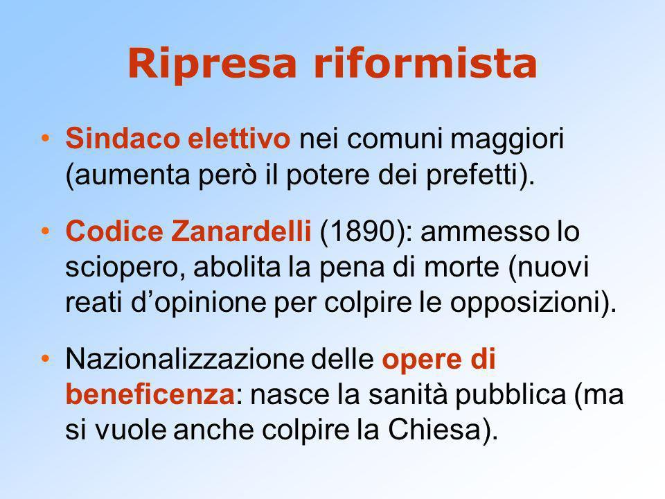 Ripresa riformista Sindaco elettivo nei comuni maggiori (aumenta però il potere dei prefetti). Codice Zanardelli (1890): ammesso lo sciopero, abolita