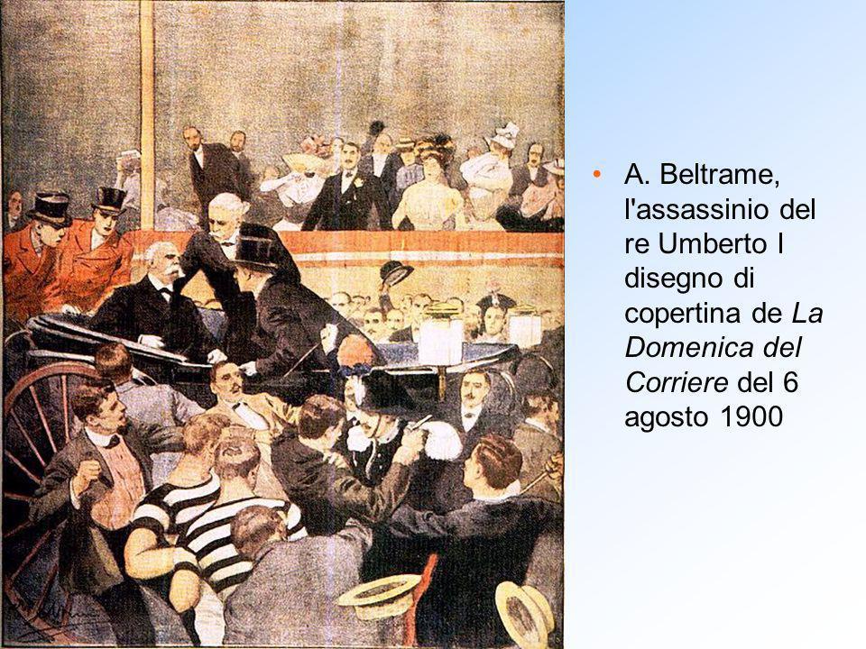 A. Beltrame, l'assassinio del re Umberto I disegno di copertina de La Domenica del Corriere del 6 agosto 1900