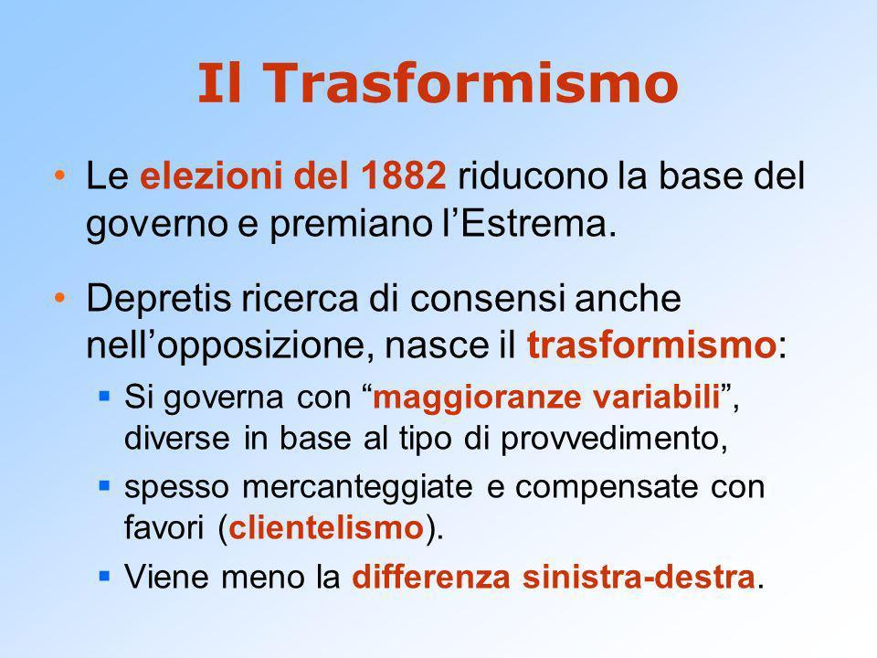 Il Trasformismo Le elezioni del 1882 riducono la base del governo e premiano lEstrema. Depretis ricerca di consensi anche nellopposizione, nasce il tr
