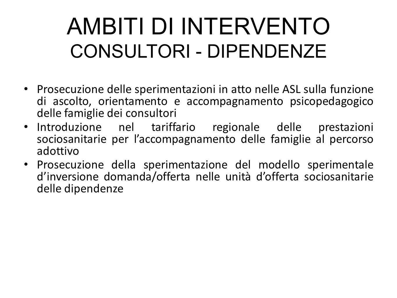AMBITI DI INTERVENTO CONSULTORI - DIPENDENZE Prosecuzione delle sperimentazioni in atto nelle ASL sulla funzione di ascolto, orientamento e accompagna