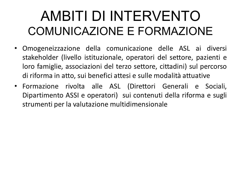 AMBITI DI INTERVENTO COMUNICAZIONE E FORMAZIONE Omogeneizzazione della comunicazione delle ASL ai diversi stakeholder (livello istituzionale, operator