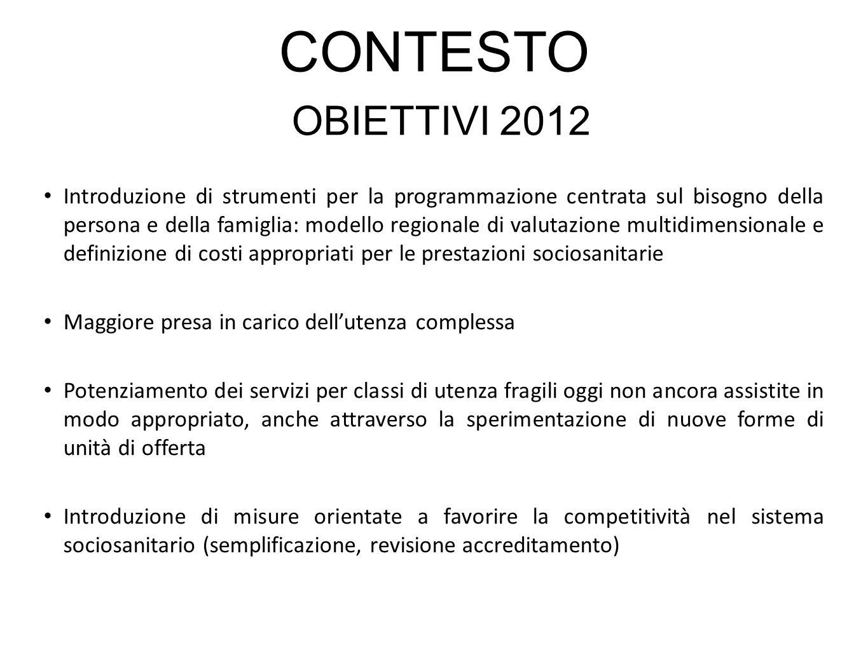 CONTESTO OBIETTIVI 2012 Introduzione di strumenti per la programmazione centrata sul bisogno della persona e della famiglia: modello regionale di valu