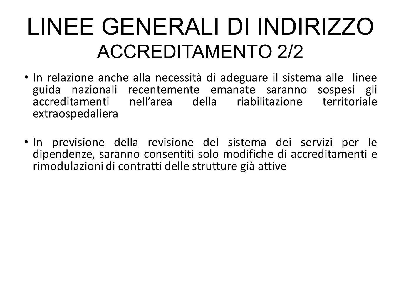 In relazione anche alla necessità di adeguare il sistema alle linee guida nazionali recentemente emanate saranno sospesi gli accreditamenti nellarea d