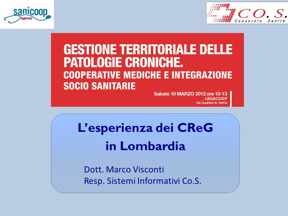 Lesperienza dei CReG in Lombardia Dott. Marco Visconti Resp. Sistemi Informativi Co.S.