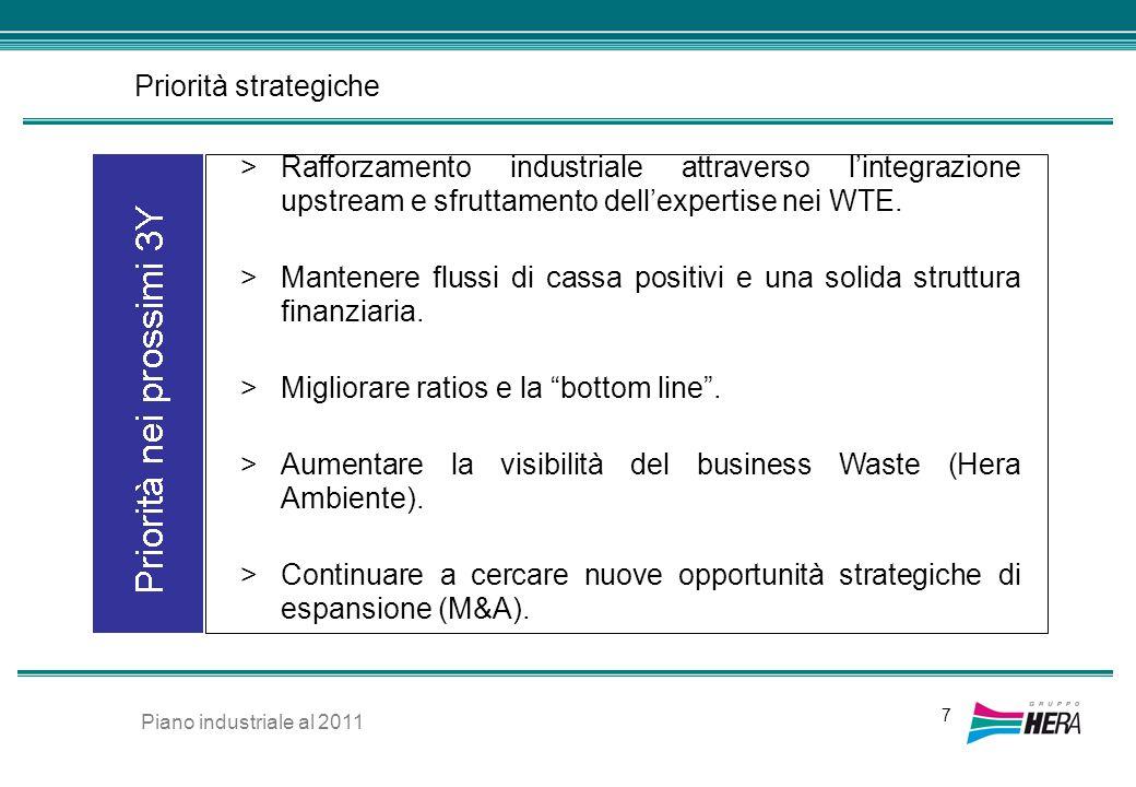 Priorità strategiche 7 >Rafforzamento industriale attraverso lintegrazione upstream e sfruttamento dellexpertise nei WTE. >Mantenere flussi di cassa p