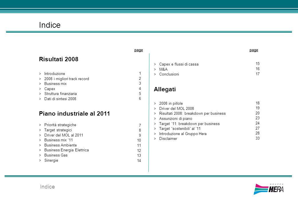 Indice Risultati 2008 >Introduzione >2008 i migliori track record >Business mix >Capex >Struttura finanziaria >Dati di sintesi 2008 Piano industriale
