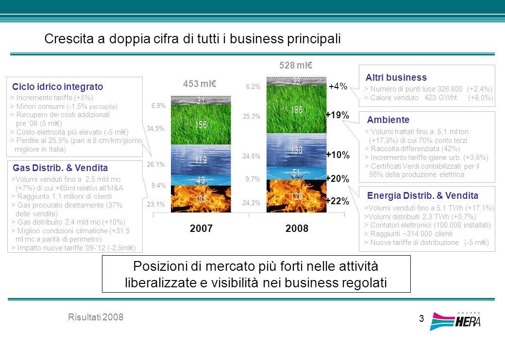 3 Crescita a doppia cifra di tutti i business principali 528 ml 453 ml +22% +20% +10% +19% +4% 20072008 24,2% 9,7% 24,6% 35,3% 6,2% Posizioni di merca