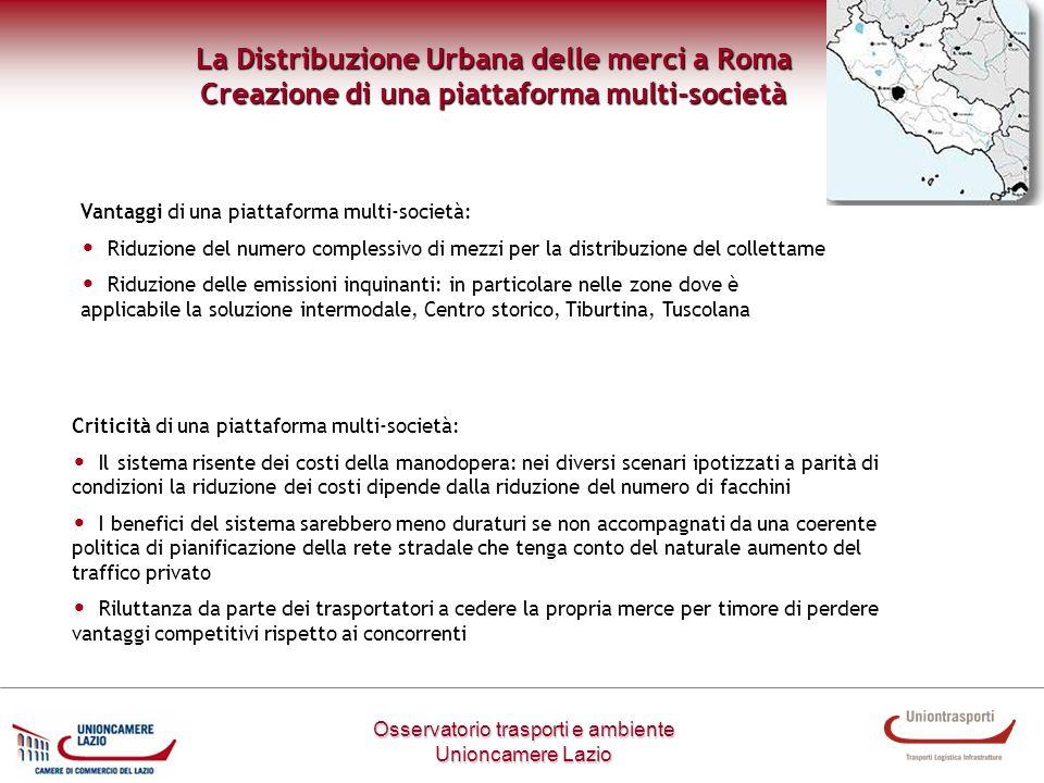 Metodologia di lavoro Osservatorio trasporti e ambiente Unioncamere Lazio La Distribuzione Urbana delle merci a Roma Creazione di una piattaforma mult