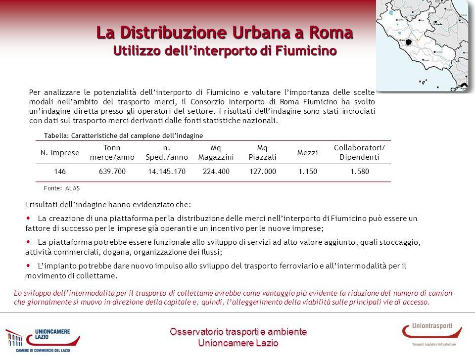 Metodologia di lavoro Osservatorio trasporti e ambiente Unioncamere Lazio La Distribuzione Urbana a Roma Utilizzo dellinterporto di Fiumicino Per anal