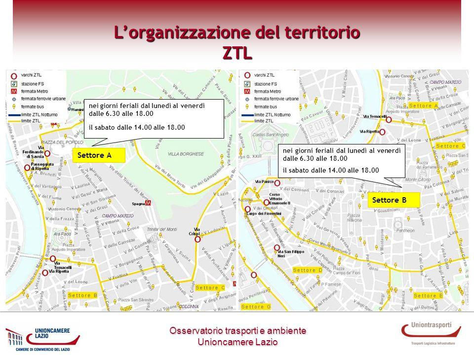 Settore A Metodologia di lavoro Osservatorio trasporti e ambiente Unioncamere Lazio Lorganizzazione del territorio ZTL nei giorni feriali dal lunedì a