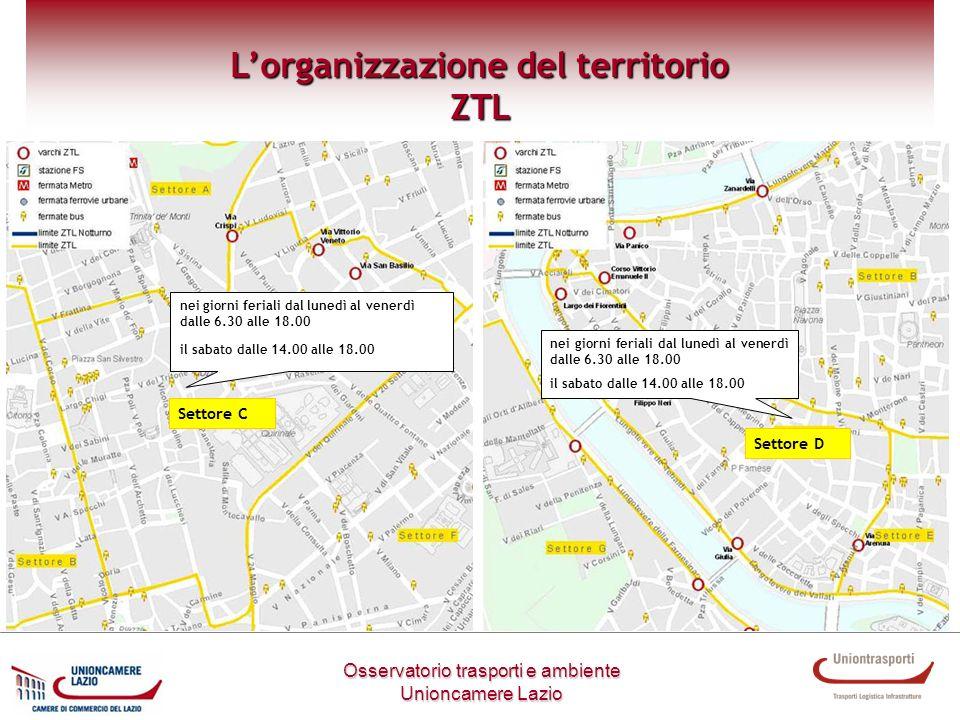 Settore C Metodologia di lavoro Osservatorio trasporti e ambiente Unioncamere Lazio Lorganizzazione del territorio ZTL nei giorni feriali dal lunedì a