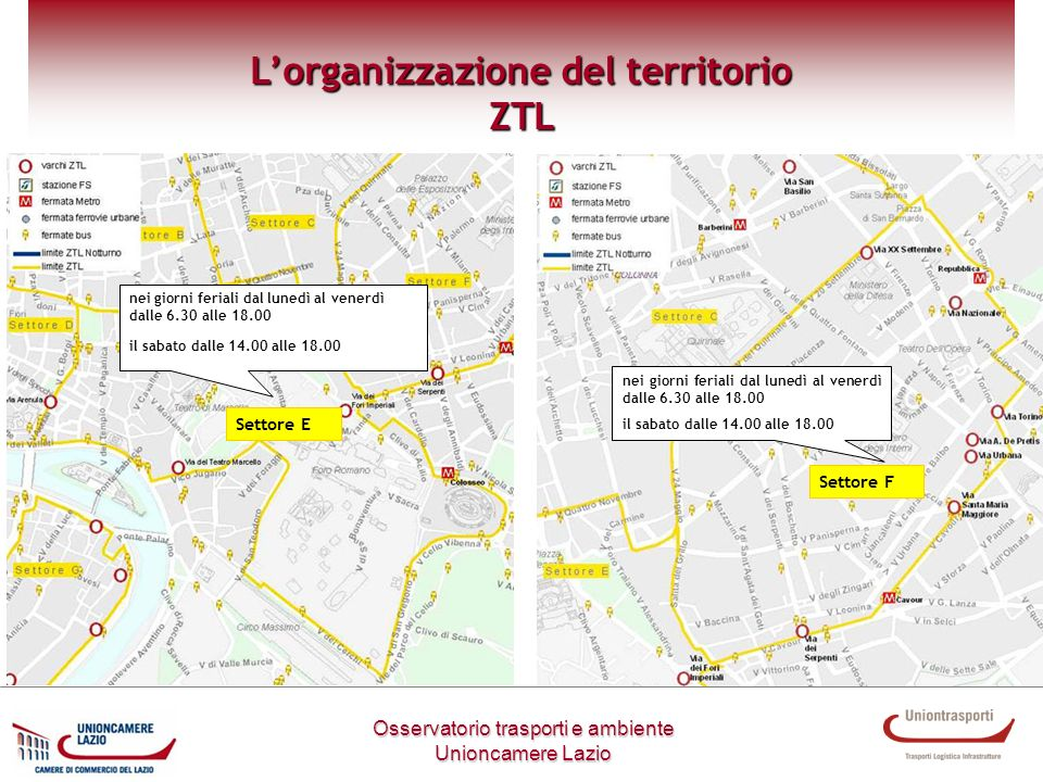 Settore E Metodologia di lavoro Osservatorio trasporti e ambiente Unioncamere Lazio Lorganizzazione del territorio ZTL nei giorni feriali dal lunedì a