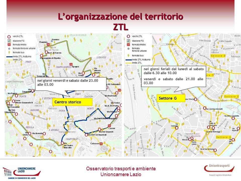 Settore G Centro storico Metodologia di lavoro Osservatorio trasporti e ambiente Unioncamere Lazio Lorganizzazione del territorio ZTL nei giorni vener