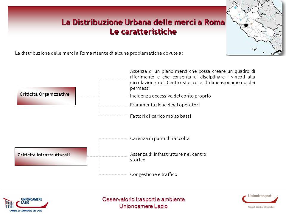 Metodologia di lavoro Osservatorio trasporti e ambiente Unioncamere Lazio La Distribuzione Urbana delle merci a Roma Le caratteristiche Criticità Orga
