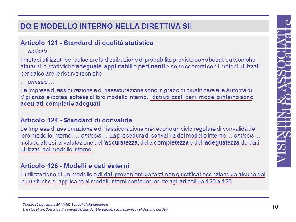 10 DQ E MODELLO INTERNO NELLA DIRETTIVA SII Articolo 121 - Standard di qualità statistica … omissis … I metodi utilizzati per calcolare la distribuzio