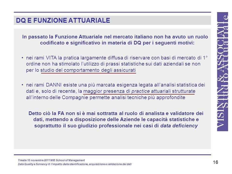 16 DQ E FUNZIONE ATTUARIALE In passato la Funzione Attuariale nel mercato italiano non ha avuto un ruolo codificato e significativo in materia di DQ p