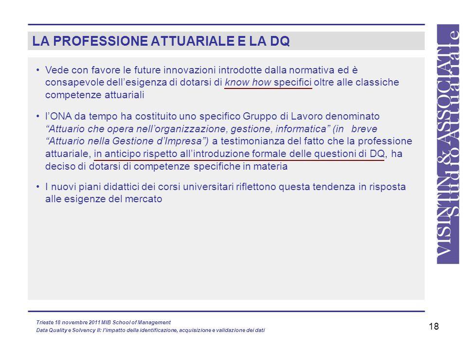 18 LA PROFESSIONE ATTUARIALE E LA DQ Vede con favore le future innovazioni introdotte dalla normativa ed è consapevole dellesigenza di dotarsi di know
