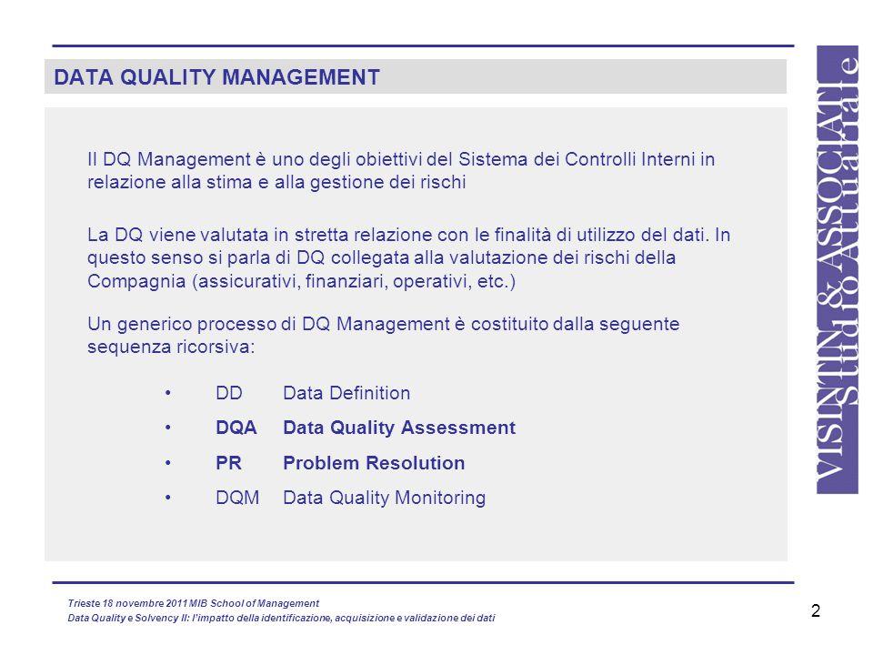 2 DATA QUALITY MANAGEMENT Il DQ Management è uno degli obiettivi del Sistema dei Controlli Interni in relazione alla stima e alla gestione dei rischi