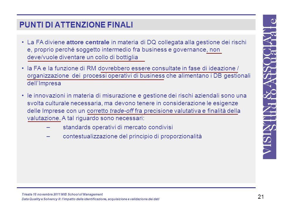 21 PUNTI DI ATTENZIONE FINALI la FA e la funzione di RM dovrebbero essere consultate in fase di ideazione / organizzazione deiprocessi operativi di bu