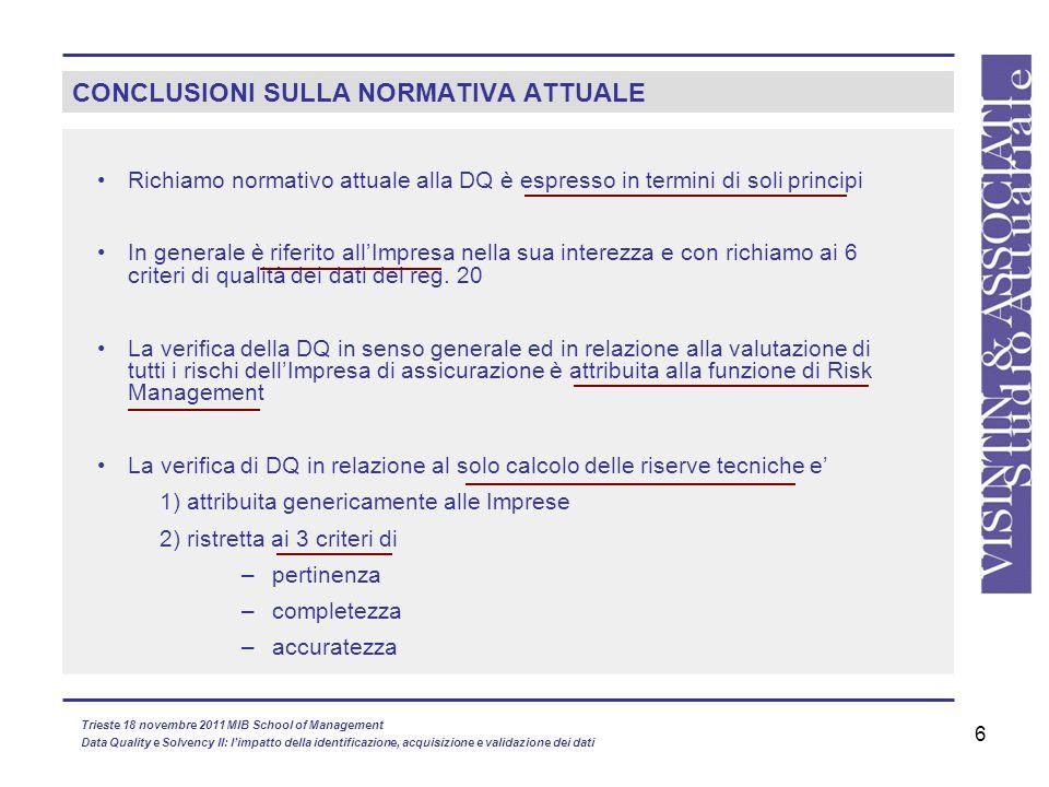 6 CONCLUSIONI SULLA NORMATIVA ATTUALE Richiamo normativo attuale alla DQ è espresso in termini di soli principi In generale è riferito allImpresa nell