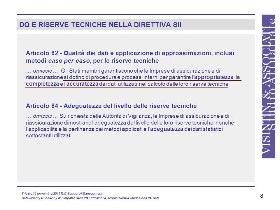 8 DQ E RISERVE TECNICHE NELLA DIRETTIVA SII Articolo 82 - Qualità dei dati e applicazione di approssimazioni, inclusi metodi caso per caso, per le ris