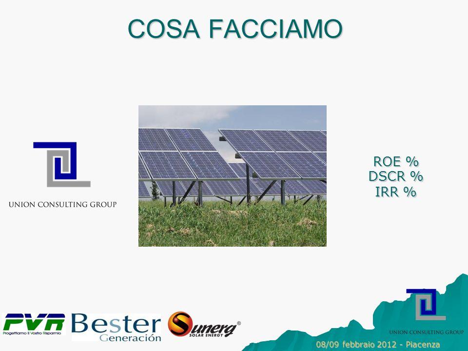 COSA FACCIAMO DSCR % IRR % ROE % 08/09 febbraio 2012 - Piacenza