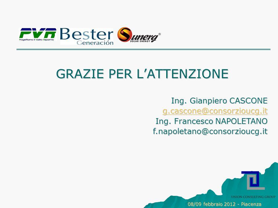GRAZIE PER LATTENZIONE Ing.Gianpiero CASCONE g.cascone@consorzioucg.it Ing.