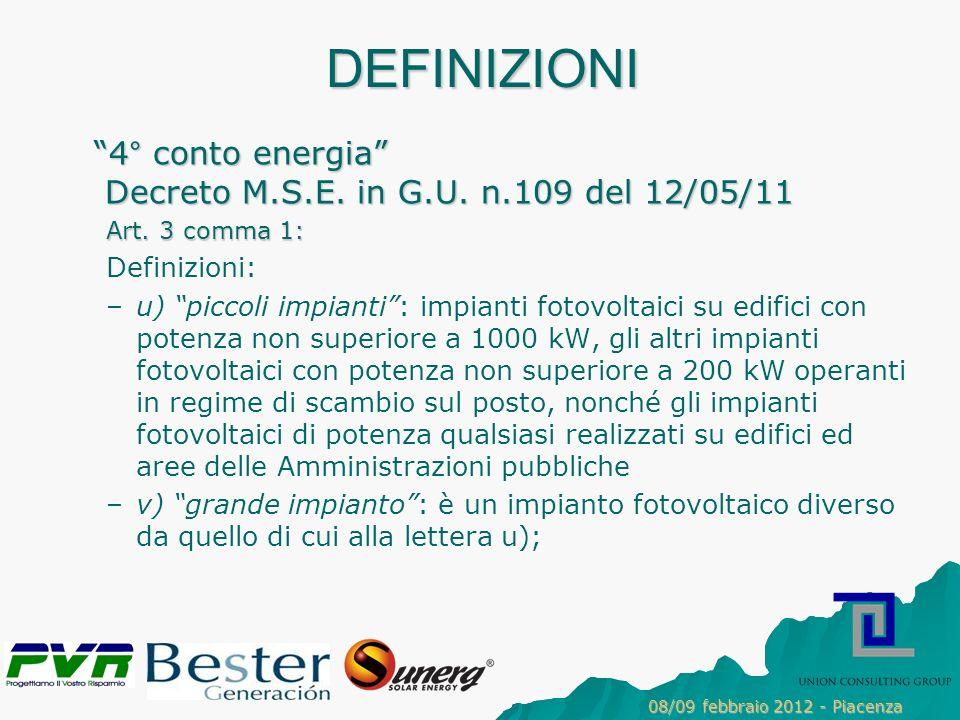 DEFINIZIONI 4° conto energia Decreto M.S.E.in G.U.