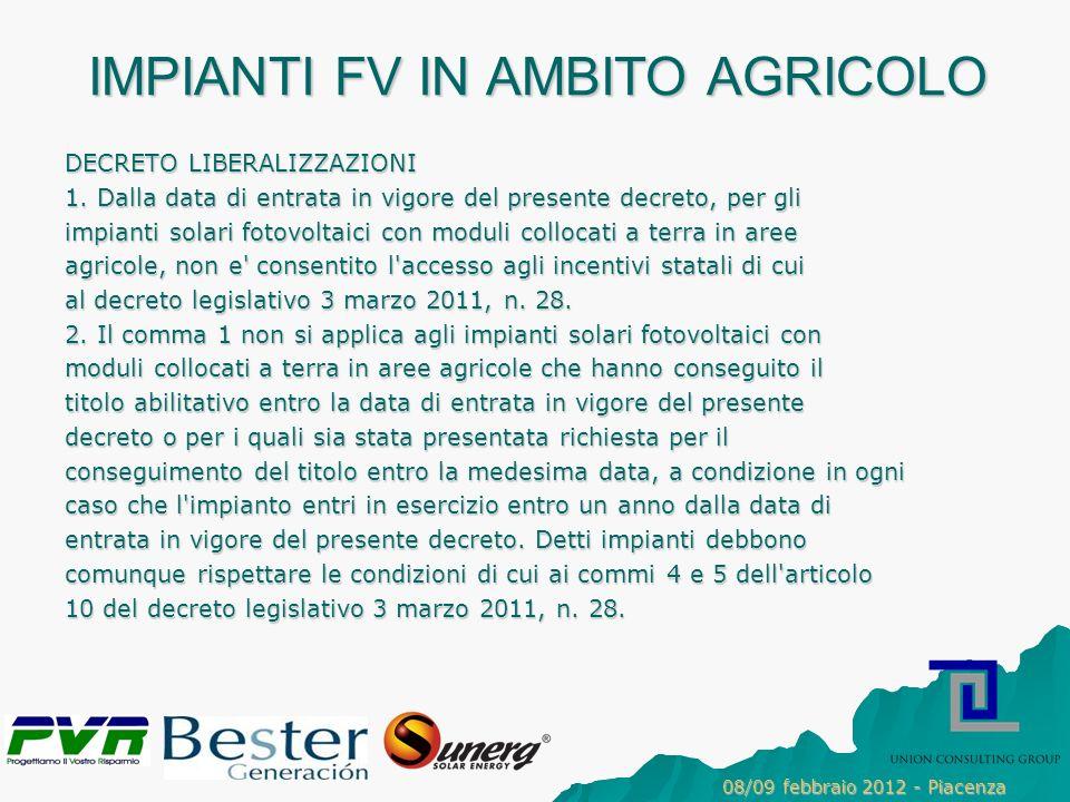 IMPIANTI FV IN AMBITO AGRICOLO DECRETO LIBERALIZZAZIONI 1.