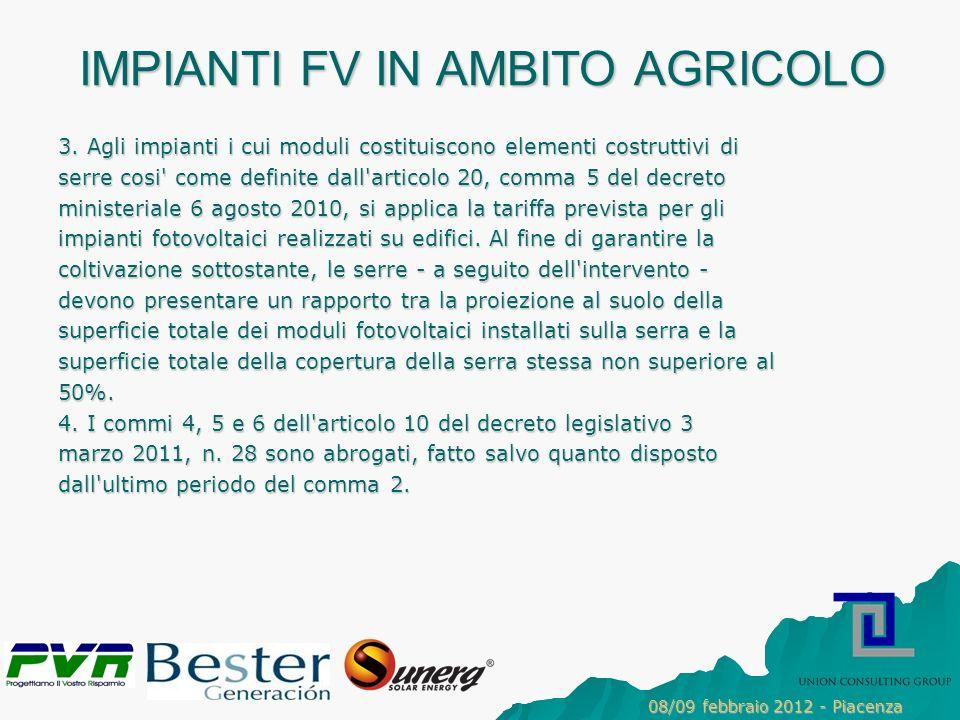 IMPIANTI FV IN AMBITO AGRICOLO 3.