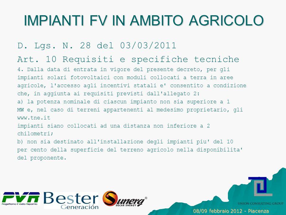 IMPIANTI FV IN AMBITO AGRICOLO D.Lgs. N. 28 del 03/03/2011 Art.