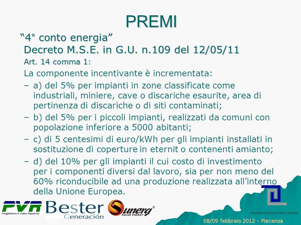 PREMI 4° conto energia Decreto M.S.E.in G.U. n.109 del 12/05/11 Art.