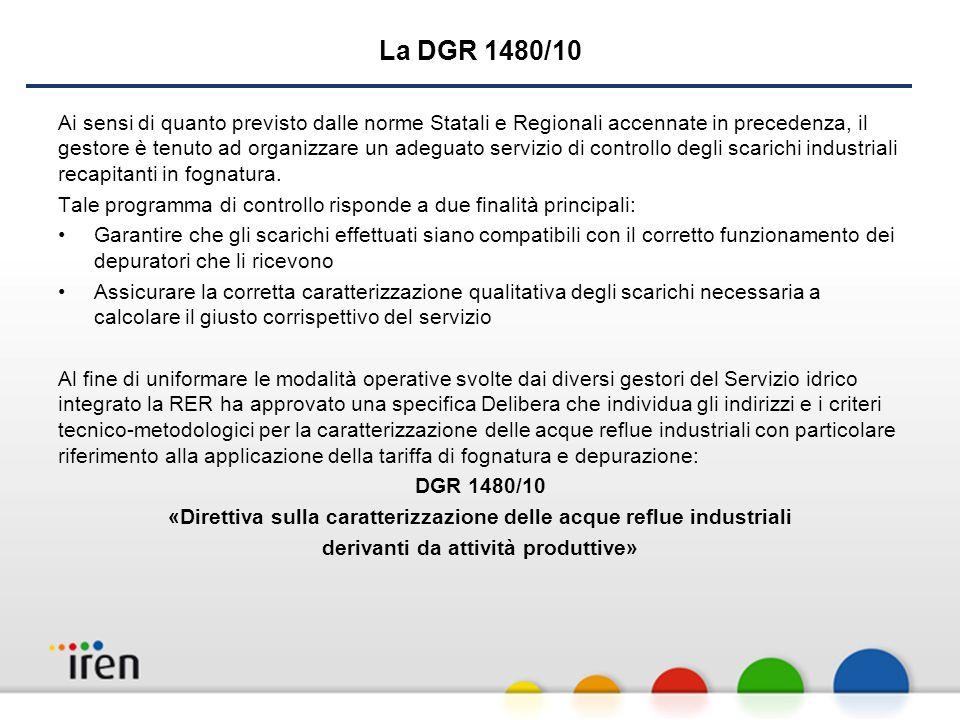 La DGR 1480/10 Ai sensi di quanto previsto dalle norme Statali e Regionali accennate in precedenza, il gestore è tenuto ad organizzare un adeguato servizio di controllo degli scarichi industriali recapitanti in fognatura.