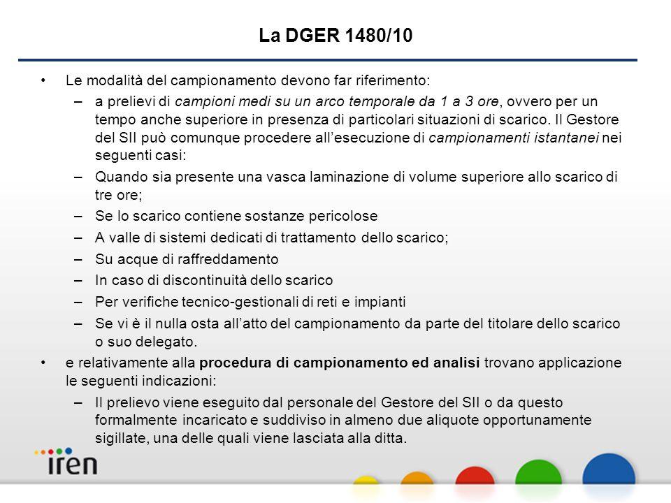 La DGER 1480/10 Le modalità del campionamento devono far riferimento: –a prelievi di campioni medi su un arco temporale da 1 a 3 ore, ovvero per un tempo anche superiore in presenza di particolari situazioni di scarico.