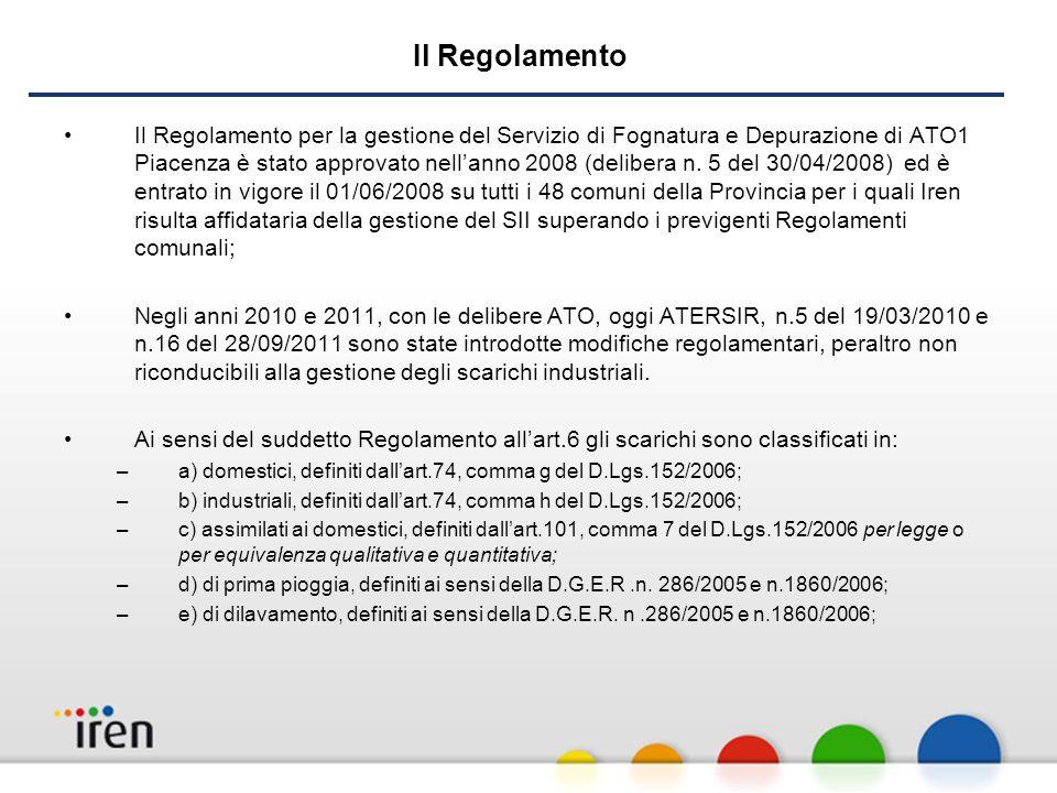 Il Regolamento Il Regolamento per la gestione del Servizio di Fognatura e Depurazione di ATO1 Piacenza è stato approvato nellanno 2008 (delibera n.