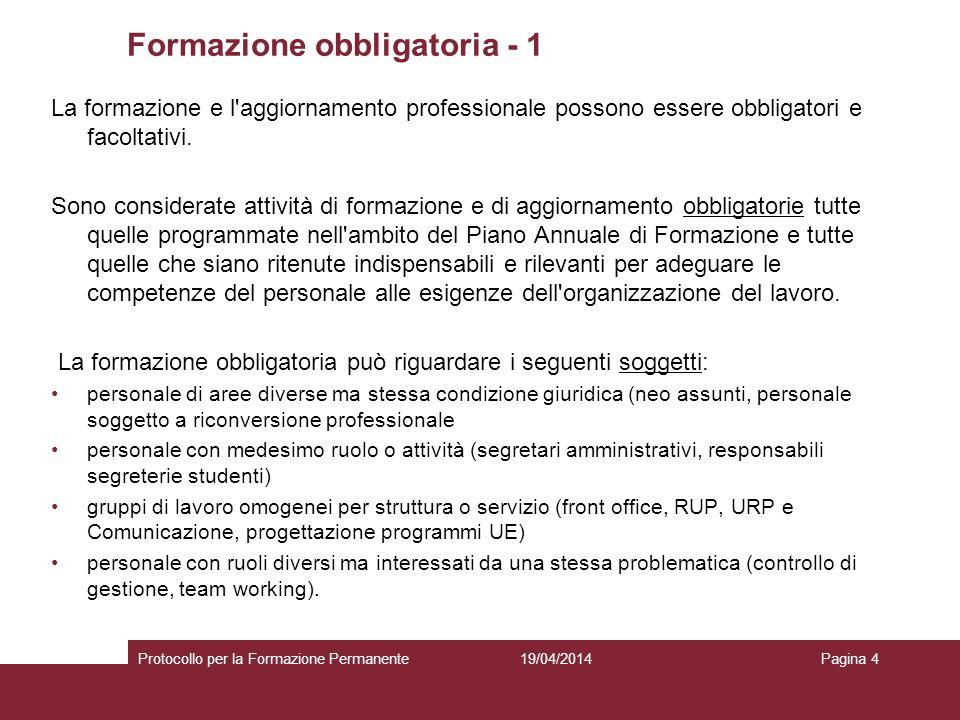 19/04/2014Protocollo per la Formazione PermanentePagina 4 Formazione obbligatoria - 1 La formazione e l aggiornamento professionale possono essere obbligatori e facoltativi.
