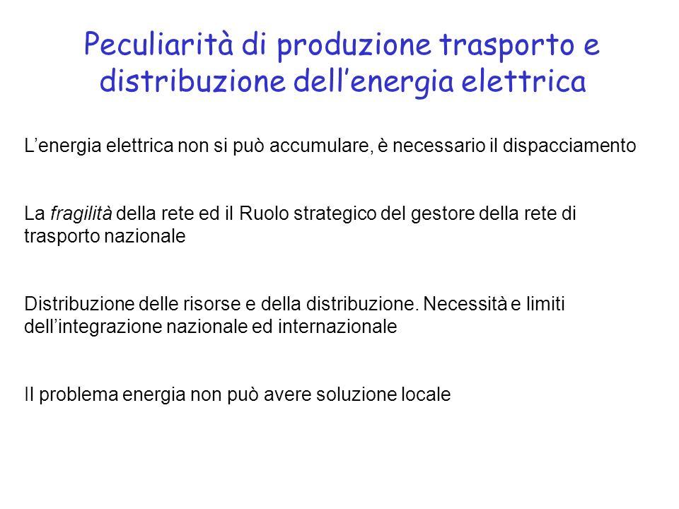 Peculiarità di produzione trasporto e distribuzione dellenergia elettrica Lenergia elettrica non si può accumulare, è necessario il dispacciamento La fragilità della rete ed il Ruolo strategico del gestore della rete di trasporto nazionale Distribuzione delle risorse e della distribuzione.