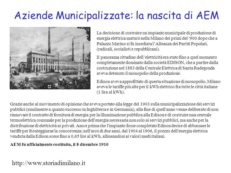 Aziende Municipalizzate: la nascita di AEM Grazie anche al movimento di opinione che aveva portato alla legge del 1903 sulla municipalizzazione dei se
