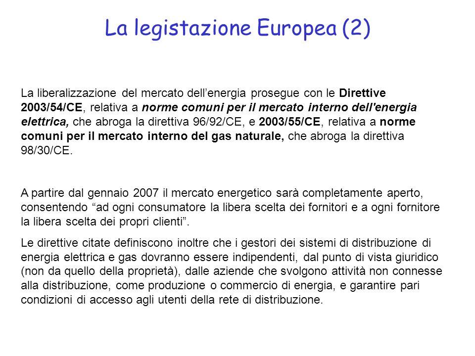La legistazione Europea (2) La liberalizzazione del mercato dellenergia prosegue con le Direttive 2003/54/CE, relativa a norme comuni per il mercato interno dell energia elettrica, che abroga la direttiva 96/92/CE, e 2003/55/CE, relativa a norme comuni per il mercato interno del gas naturale, che abroga la direttiva 98/30/CE.