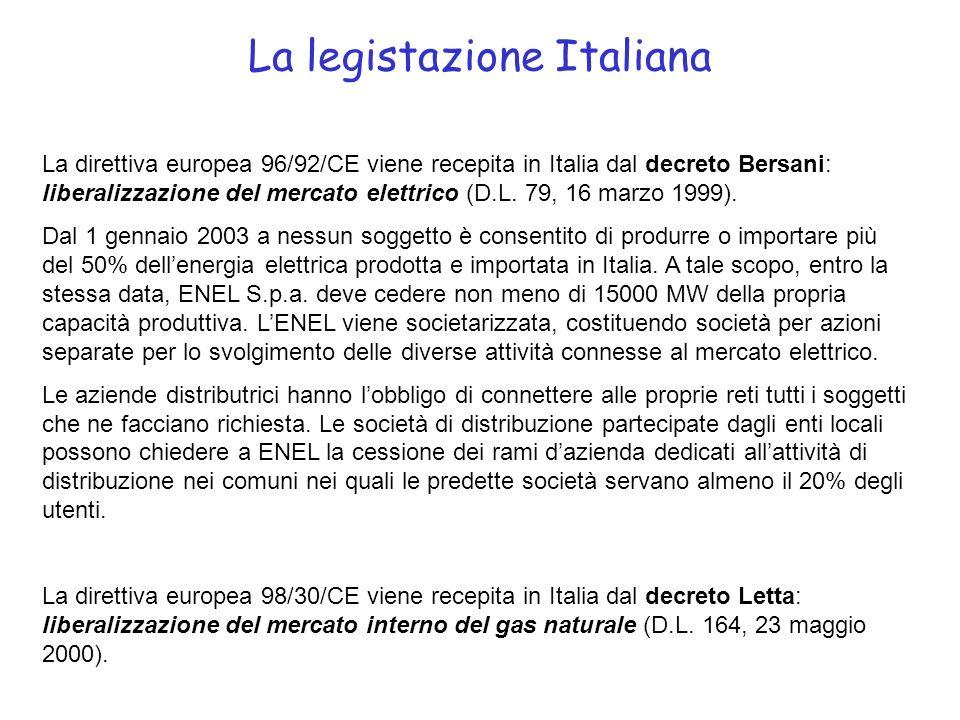 La legistazione Italiana La direttiva europea 96/92/CE viene recepita in Italia dal decreto Bersani: liberalizzazione del mercato elettrico (D.L.
