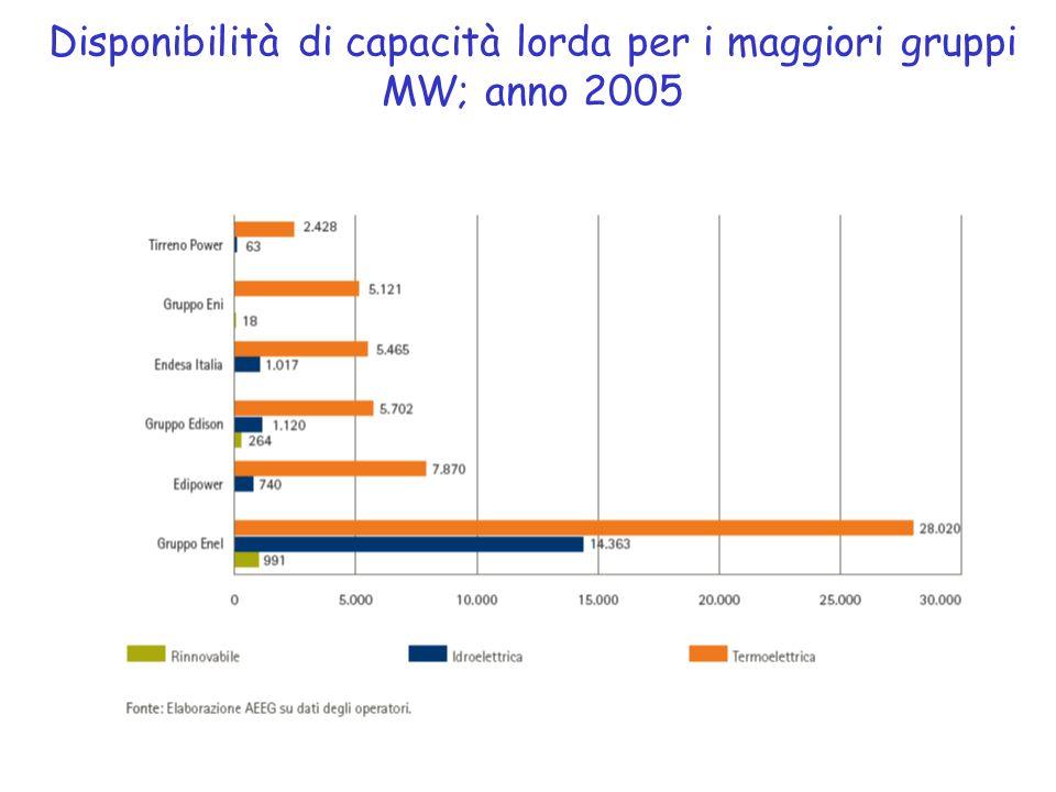 Disponibilità di capacità lorda per i maggiori gruppi MW; anno 2005