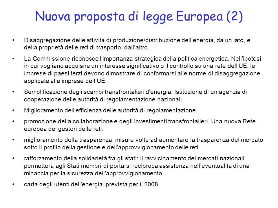 Nuova proposta di legge Europea (2) Disaggregazione delle attività di produzione/distribuzione dellenergia, da un lato, e della proprietà delle reti di trasporto, dallaltro.