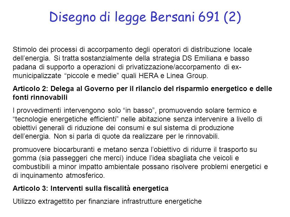 Disegno di legge Bersani 691 (2) Stimolo dei processi di accorpamento degli operatori di distribuzione locale dellenergia. Si tratta sostanzialmente d