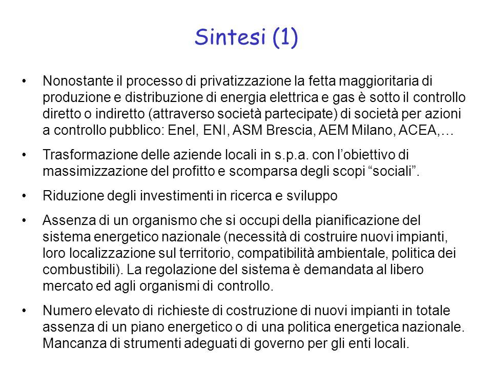 Sintesi (1) Nonostante il processo di privatizzazione la fetta maggioritaria di produzione e distribuzione di energia elettrica e gas è sotto il controllo diretto o indiretto (attraverso società partecipate) di società per azioni a controllo pubblico: Enel, ENI, ASM Brescia, AEM Milano, ACEA,… Trasformazione delle aziende locali in s.p.a.