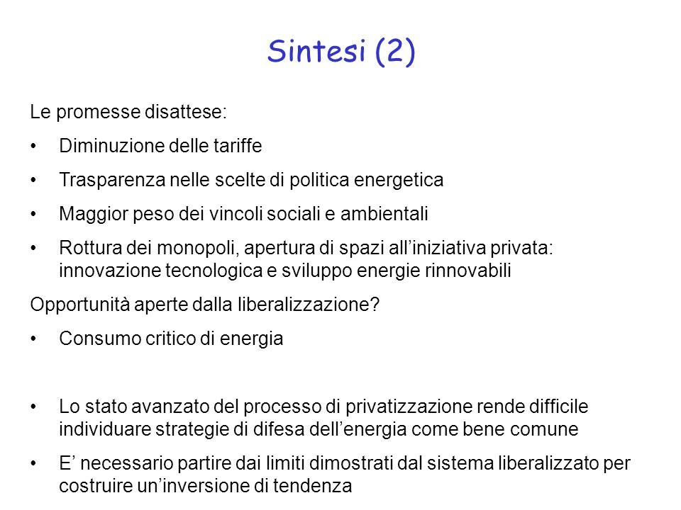 Sintesi (2) Le promesse disattese: Diminuzione delle tariffe Trasparenza nelle scelte di politica energetica Maggior peso dei vincoli sociali e ambien