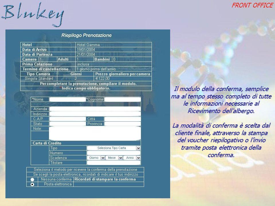 FRONT OFFICE Il modulo della conferma, semplice ma al tempo stesso completo di tutte le informazioni necessarie al Ricevimento dellalbergo.