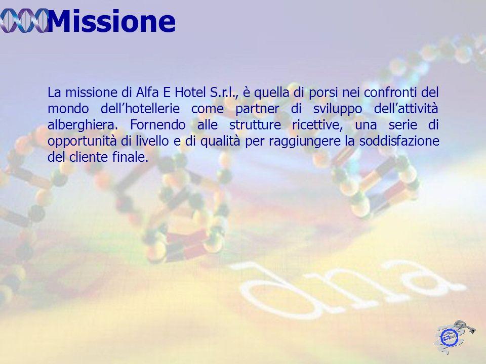 La missione di Alfa E Hotel S.r.l., è quella di porsi nei confronti del mondo dellhotellerie come partner di sviluppo dellattività alberghiera.