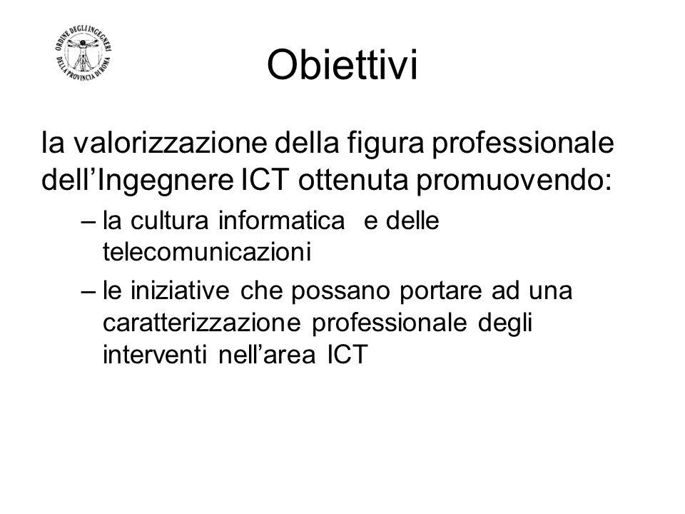 Obiettivi la valorizzazione della figura professionale dellIngegnere ICT ottenuta promuovendo: –la cultura informatica e delle telecomunicazioni –le iniziative che possano portare ad una caratterizzazione professionale degli interventi nellarea ICT
